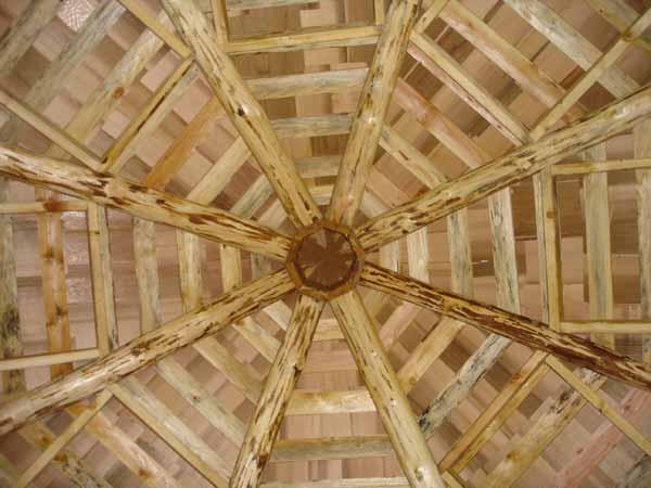Rustic log frame gazebo building the roof for Rustic gazebo plans